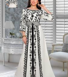 Off White Faux Georgette Party Wear Islamic Kaftan With Zari And Stone Embroidery Work