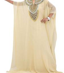 Cream Georgette Farasha With Zari And Stone Embroidery Work
