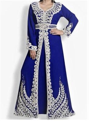 Navy Blue Georgette Islamic Kaftan With Zari And Stone Embroidery Work