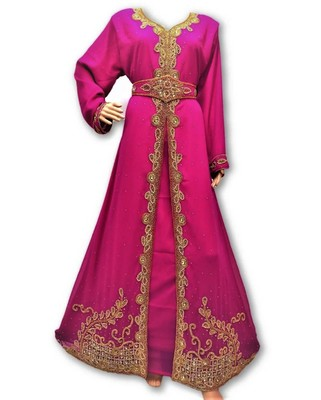 Pink Georgette Islamic Kaftan With Zari And Stone Embroidery Work