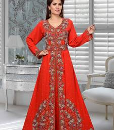 Red Faux Georgette Party Wear Islamic Kaftan With Zari And Stone Embroidery Work