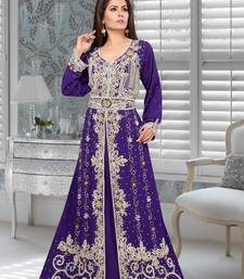 Purple Faux Georgette Party Wear Islamic Kaftan With Zari And Stone Embroidery Work