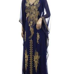 Navy Blue Georgette Farasha With Zari And Stone Embroidery Work