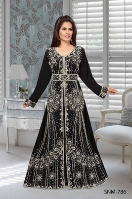 Black Faux Georgette Party Wear Islamic Kaftan With Zari And Stone Embroidery Work