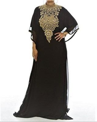 Black Georgette Farasha With Zari And Stone Embroidery Work