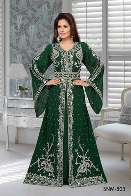 Bottle Green Faux Georgette Party Wear Islamic Kaftan With Zari And Stone Embroidery Work