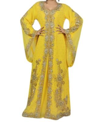 Yellow Georgette Islamic Kaftan With Zari And Stone Embroidery Work