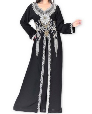 Black Georgette Islamic Kaftan With Zari And Stone Embroidery Work
