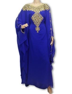 Blue Georgette Farasha With Zari And Stone Embroidery Work