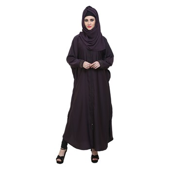 Purple Nida Designer Zipper Front Open Kaftan Style Abaya
