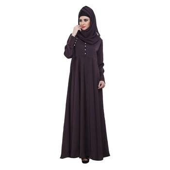 Purple Nida Designer Pleated Large Flare Abaya