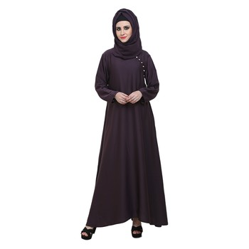 Purple Nida A Shaped Side Button Style Formal Abaya