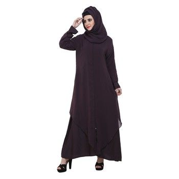 Purple Nida Double Layer Desginer Zipper Front Open Abaya