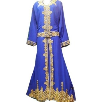Royal Blue Georgette Embroidered Stitched Islamic Kaftans