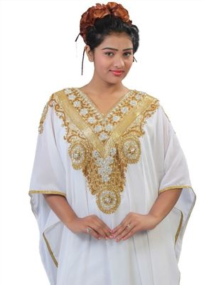 Cream Georgette Embroidered Stitched Islamic Kaftans