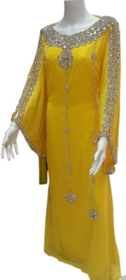 Yellow Georgette Embroidered Stitched Islamic Kaftans