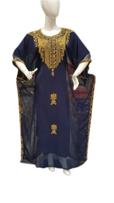 Navy Blue Georgette Embroidered Stitched Islamic Kaftans