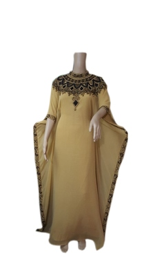 Beige Georgette Embroidered Stitched Islamic Kaftans