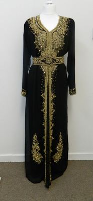 Black Georgette Embroidered Stitched Islamic Kaftans