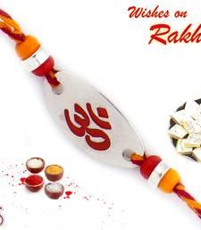 Silver Base Beads Studded Om Rakhi