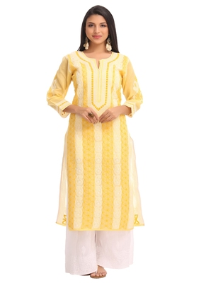 Ada yellow cotton chikankari kurtis