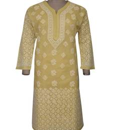 Buy Ada fawn cotton chikankari kurtis chikankari-kurtis online