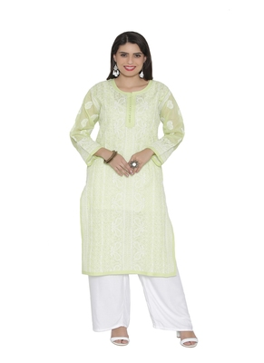 Ada Hand Embroidered Green Cotton Chikankari Kurti