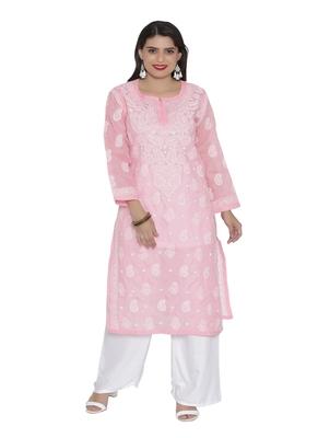 Ada Hand Embroidered pink cotton chikankari kurtis