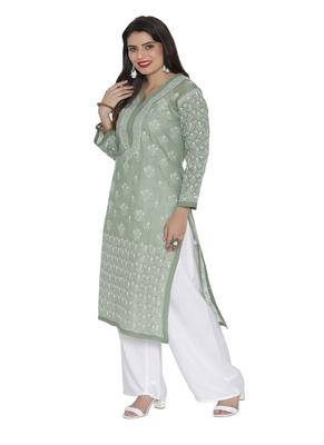 Ada Hand Embroidered green cotton chikankari kurtis