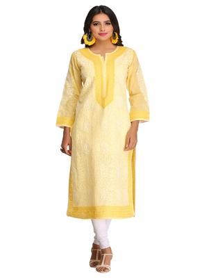 Ada Yellow Cotton Chikankari Kurti