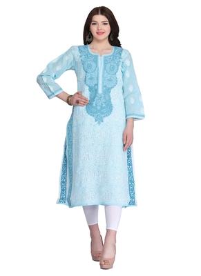 Ada blue cotton chikankari kurtis