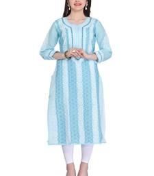 Buy Ada blue cotton chikankari kurtis chikankari-kurtis online