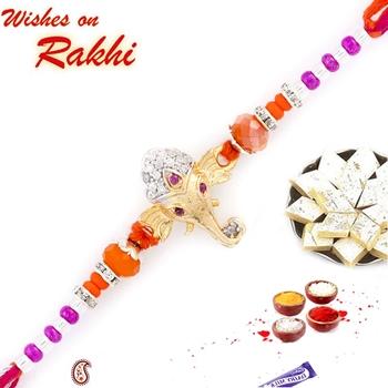 Orange  And  Purple Beads Ganesh Motif Rakhi