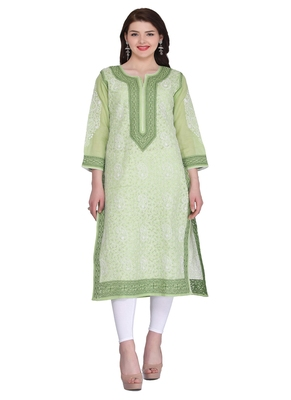 Ada green cotton chikankari kurtis