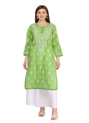 Ada green cotton chikankari kurtis