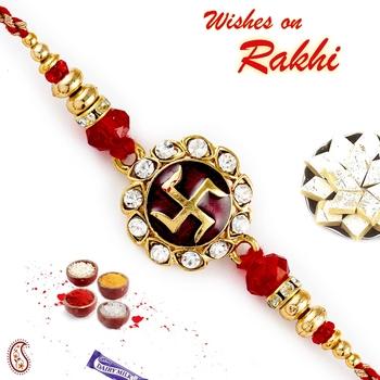 Red  And  Golden Beads Studded Swastik Motif Rakhi