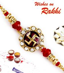 Red  And  Golden Beads Studded Swastik Motif Rakhi