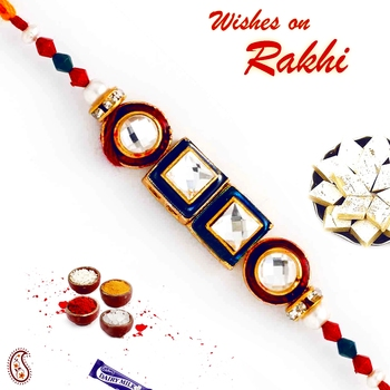 Circular  And  Square Crystal Stone Beads Rakhi