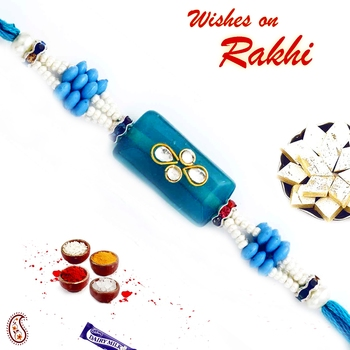 Rectangular Blue Base Kundan Studded Rakhi