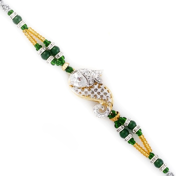 Green  And  Gold Beads Studded  And  Paisley Design Rakhi