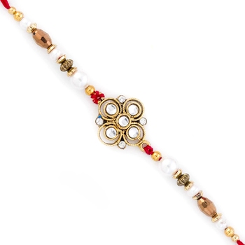White  And  Golden Beads Floral Pattern Rakhi