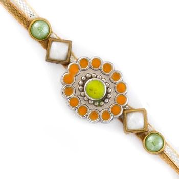 Orange  And  Green Stone Beads Stylish Rakhi