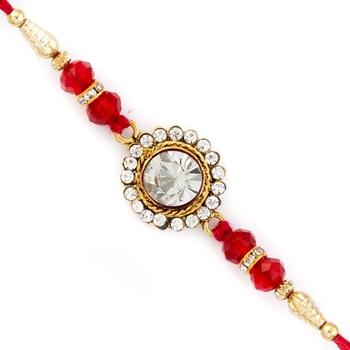 Sparkling Red Crystal Stone Embellished Rakhi