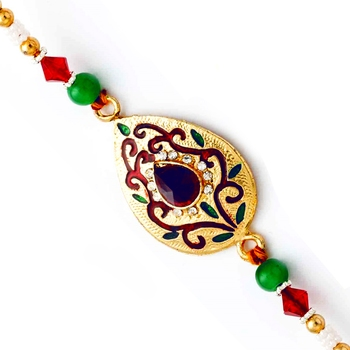 Golden Base  And  Ad Studded Designer Rakhi