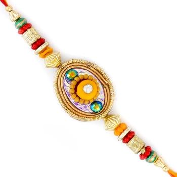 Yellow Floral Shape Multicolor Beads Studded Rakhi