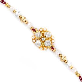 White  And  Golden Beads Floral Pattern Rakhi