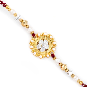 Golden  And  White Beads Embellished Floral Rakhi