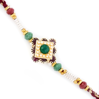 Multicolor Beads Embellished Lovely Motif Rakhi