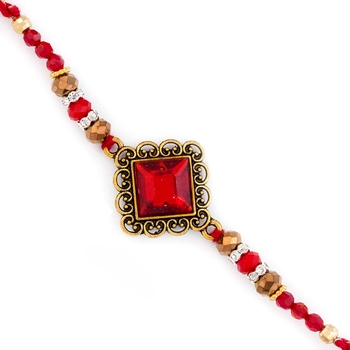 Beautiful Red Stone Embellished Rakhi