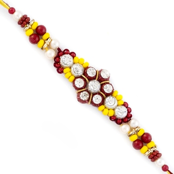 Yellow  And  Red Stones Beads Studded Floral Shape Rakhi